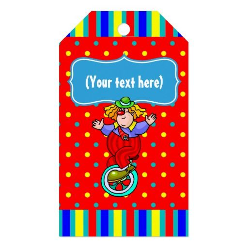 Kids Circus Party Personalized Pack Of Gift Tags