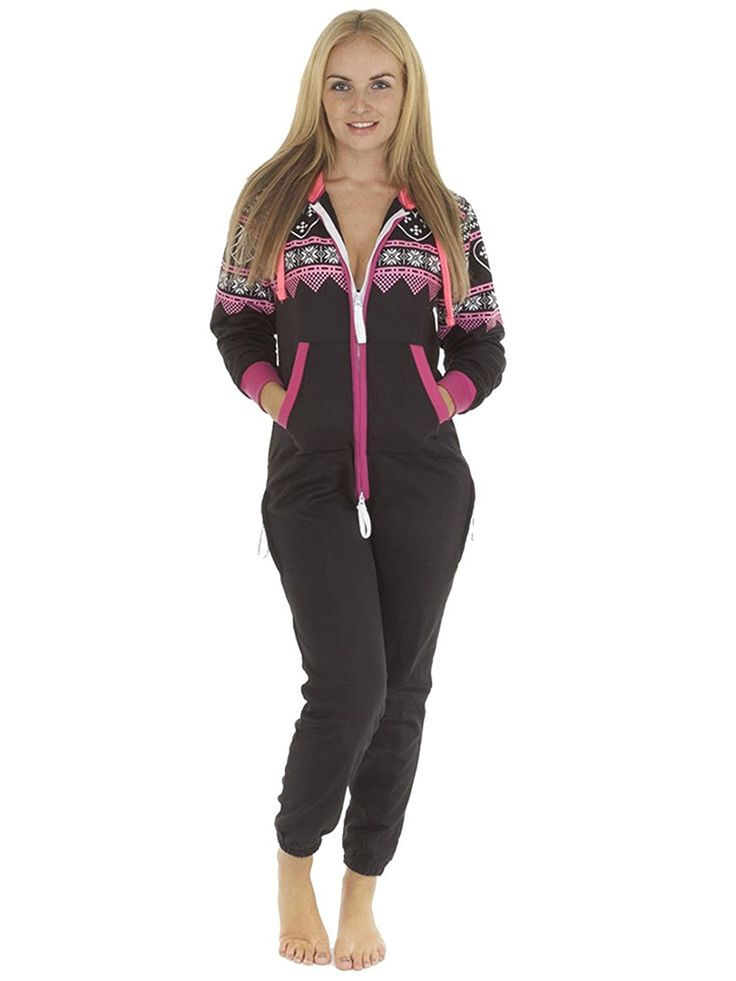 Love My Fashions Women's Heart Aztec Print Onesie Hoodie Fleece Jumpsuit -- To view further for this item, visit the image link.