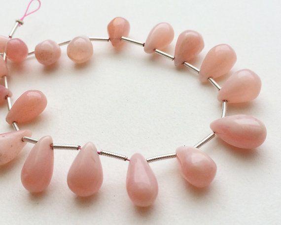Pink Opal Plain Teardrop Beads Peruvian Pink Opal by gemsforjewels
