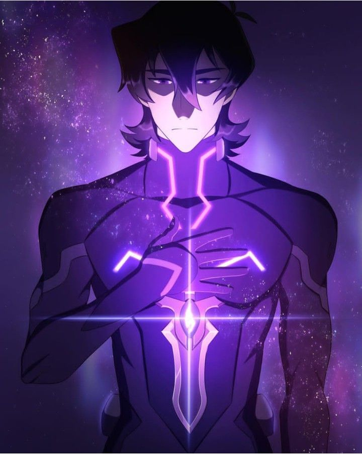 Keith in Blade of Marmora with his glowing knife blade from Voltron Legendary Defender