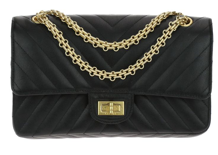 Chanel Black Sheepskin Chevron Quilted 2.55 Reissue Double Flap Bag 225