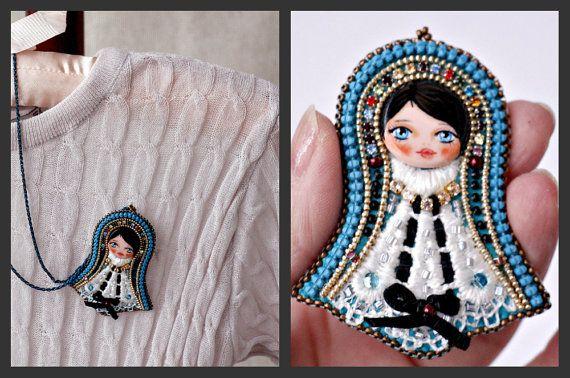 Art Doll-Doll Brooch-Nice brooch-Present for girl-Cute brooch-Brooch Fiber hand embroidered-Pin Art Doll Brooch-gift for her-brooch doll