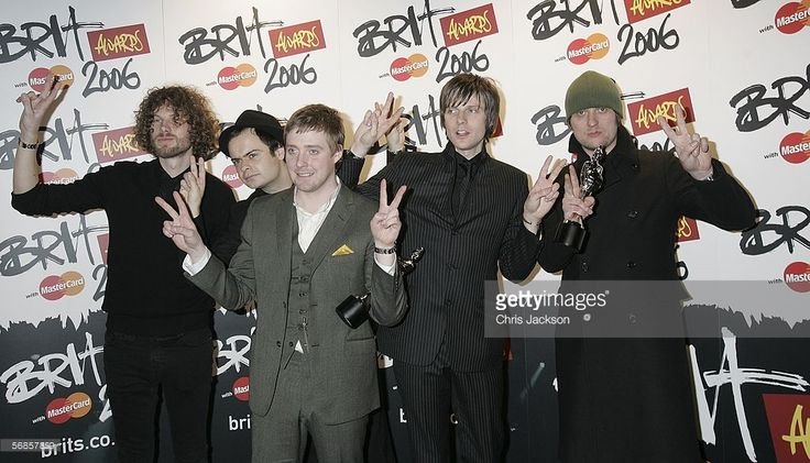 Simon Rix Ricky Wilson Nick Baines Nick Hodgson and Andrew White of The Kaiser Chiefs pose in the...