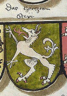 Wappen des Herzogtums Steiermark (Herzogtum Steyr) (steirischer Panther),  aus Jörg Rugens Wappenbuch, Bayern um 1495/98