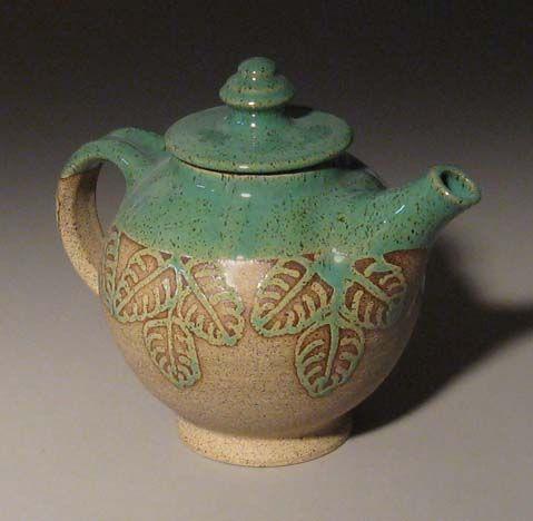 Stoneware pottery teapot