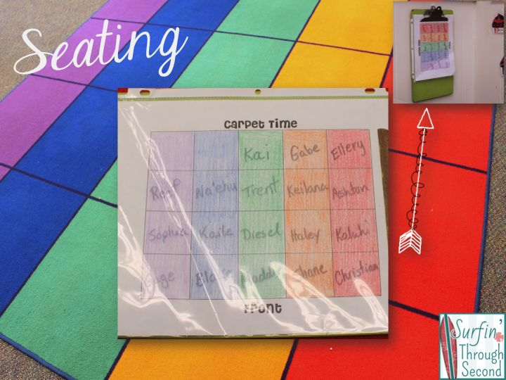 Using Sheet Protectors In The Classroom (carpet seating chart idea)