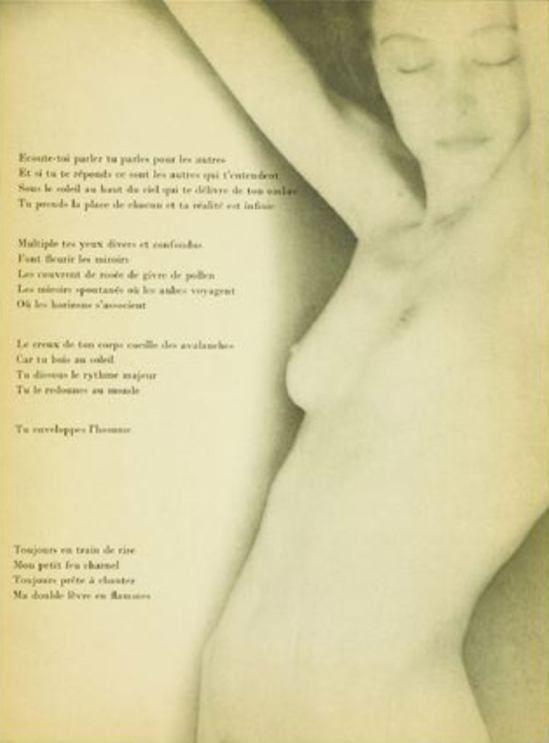 Man Ray. Nusch Eluard 1935. Accompagné du poème « L'entente » tiré du livre de Paul Eluard « Facile »