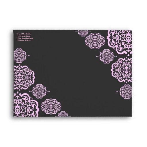 Quatrefoil Damask (Pink) Envelopes