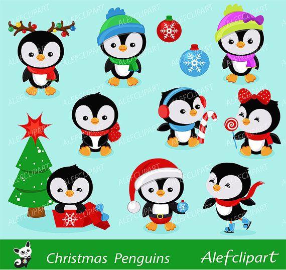 Рождественские пингвины - Digital Set Clipart, Рождеством Клипарт, зима Клипарт, рождественские изображения, Пингвины Clipart