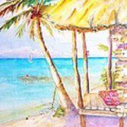 Tropical Beach Hut Watercolor Poster by Carlin Blahnik