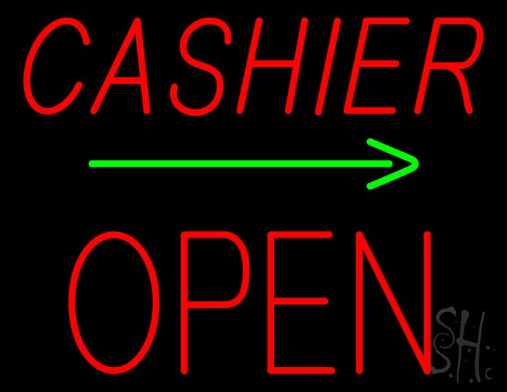Cashier Block Open with Arrow Neon Sign 24 Tall x 31 Wide x 3 Deep, is 100% Handcrafted with Real Glass Tube Neon Sign. !!! Made in USA !!!  Colors on the sign are Red and Green. Cashier Block Open with Arrow Neon Sign is high impact, eye catching, real glass tube neon sign. This characteristic glow can attract customers like nothing else, virtually burning your identity into the minds of potential and future customers.