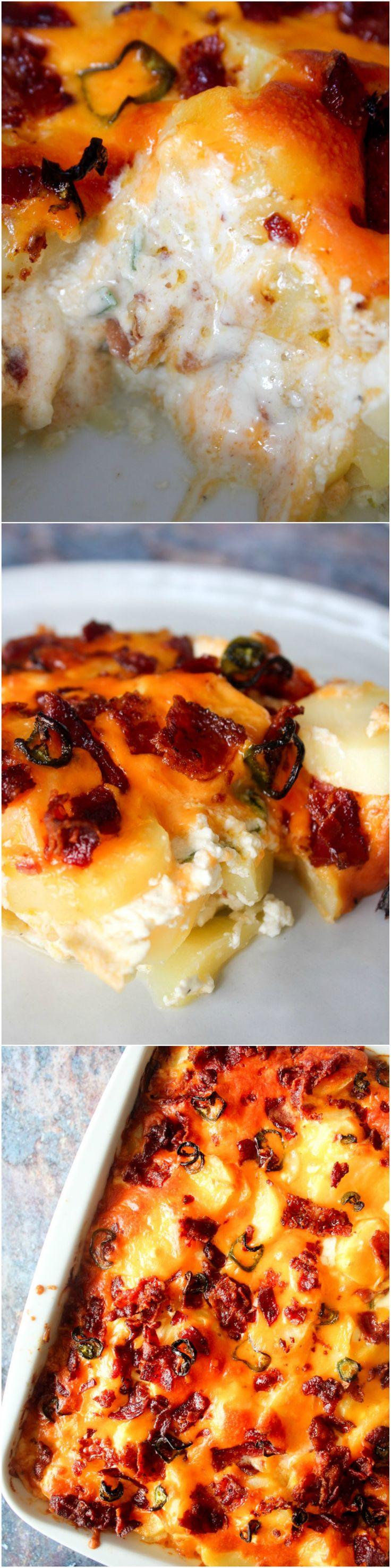 Creamy jalapeño popper potato bake - Cheesy potatoes - easy dinner - oven recipe - potatp recipe