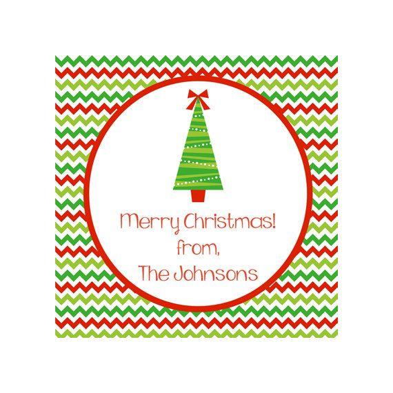 Printable Red and Green Chevron Christmas Gift Tag_$5 for printable PDF