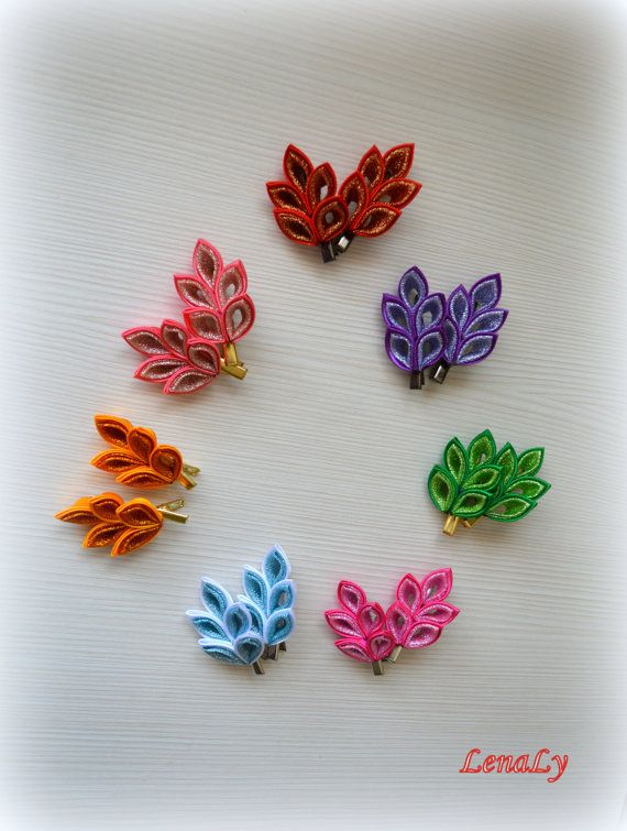Kanzashi fabric flowers hair clip a set from 2 pieces от LenaLy, $8.50