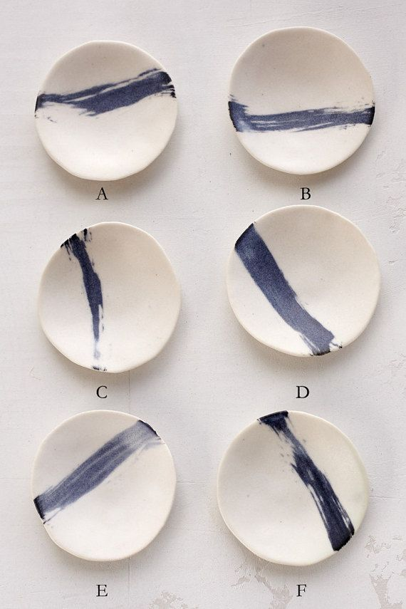 DOS porcelain ring dish with indigo brush stroke by DearOldSouls