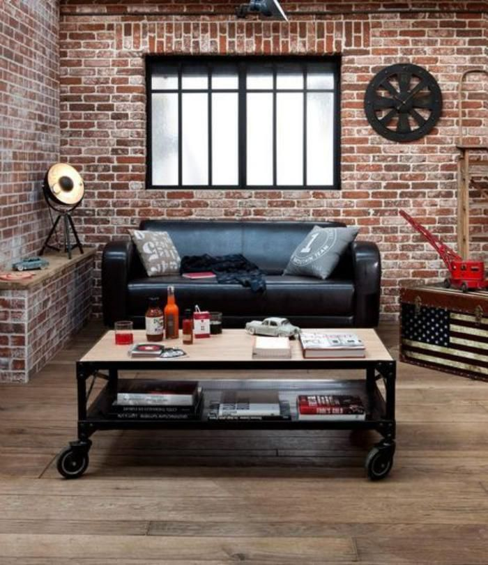 briques de parement, salon vintage industriel