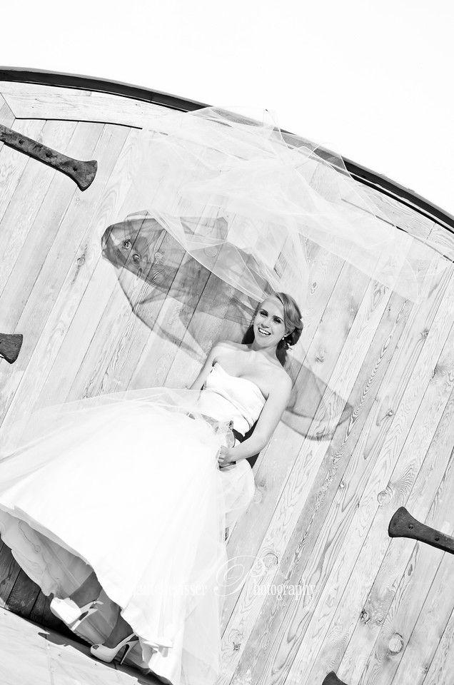 Wind swept veil, Bride in Black and White  | Weddings - Chantelle Visser Photography