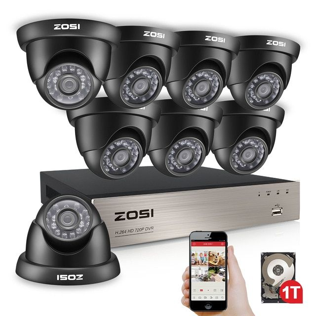 Zosi 8ch 1080n Tvi H 264 8ch Dvr 8pcs 720p Outdoor Indoor Dome Cctv Video Home S Security Cameras For Home Home Security Camera Systems Security Camera System