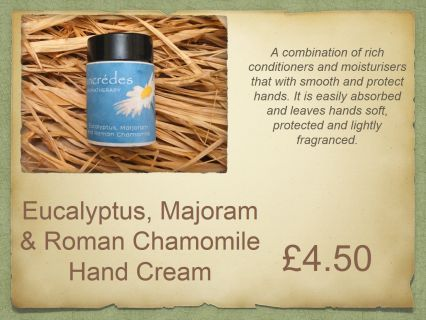 This luxurious hand cream is fantastic for sore hands, particularly those with arthritis or fibromyalgia. Roman chamomile is a natural anti-inflammatory with eucalyptus, and marjoram warming the area and helping the ache.