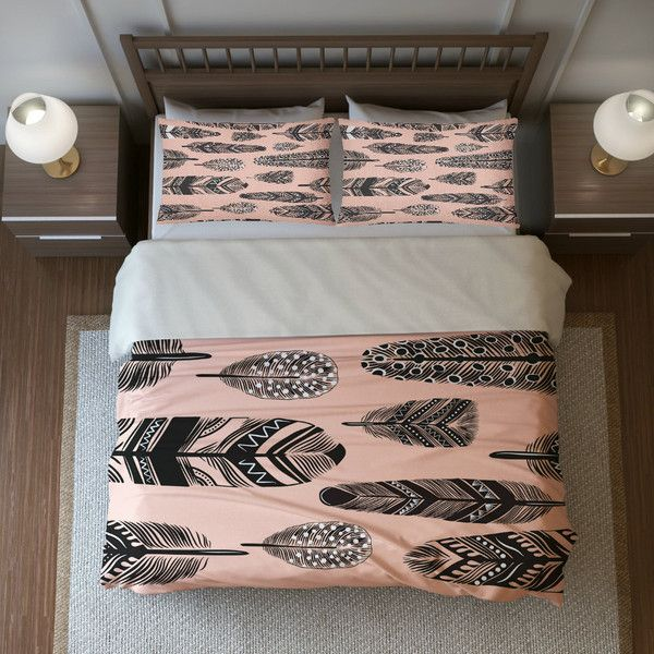 boho chic bedding duvet cover set peach and gray bohemian feather design