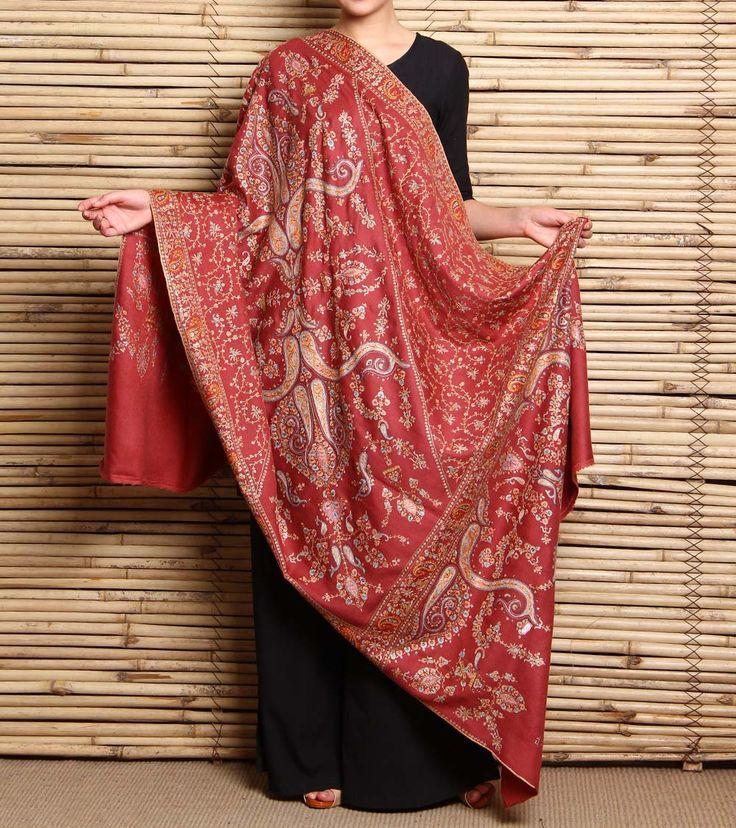 Onion Pink Hand Embroidered Pashmina Shawl