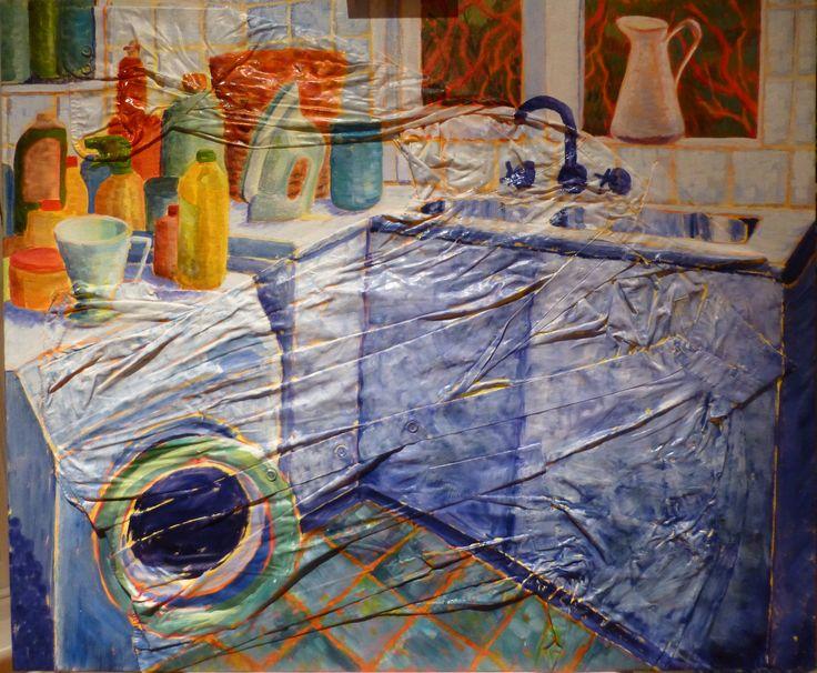 "Joanna Mansueto ""laundry"" oil on shirt and canvas, 2014"