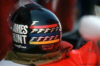 BOWMANVILLE, ONT - OCTOBER 3: James Hunt's helmet sits on his McLaren M23 8-2/Ford Cosworth in pit lane before practice for the 1976 Canadian Grand Prix on October 3, 1976, at the Mosport International Raceway near Bowmanville, Ontario, Canada.