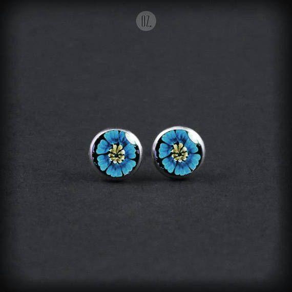 Studs Blue Iris Flowers Mini handmade folk jewelry from
