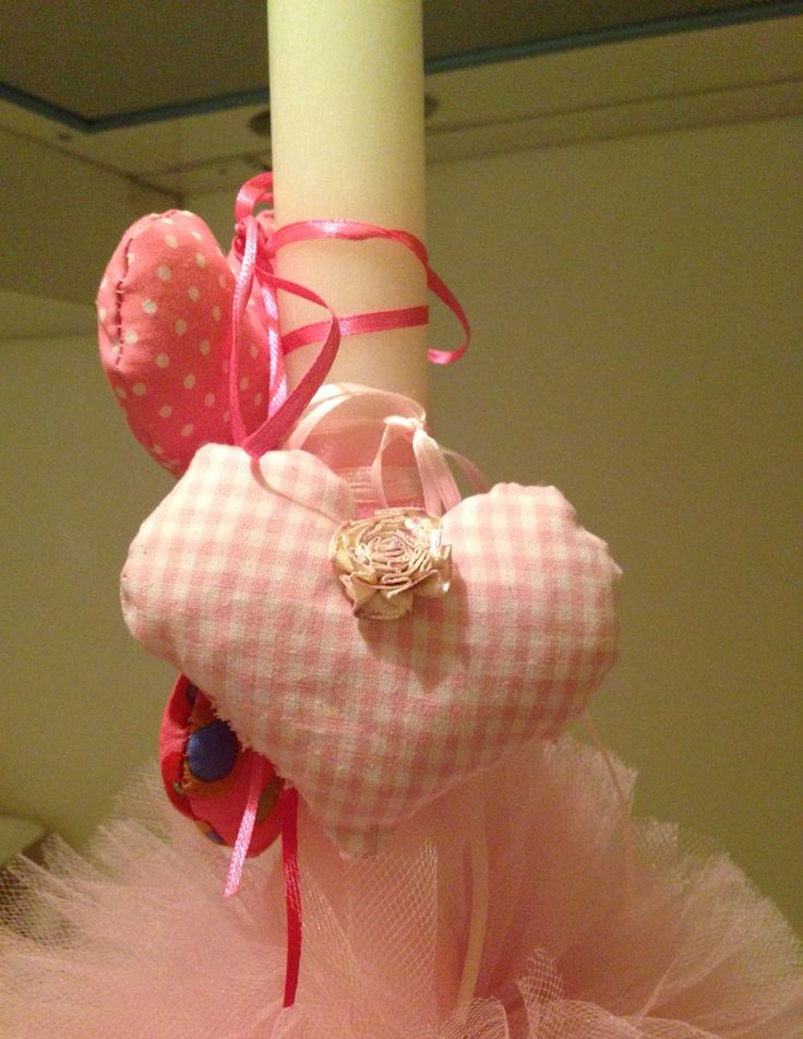Plush hearts and tulle pom pom Easter candle.