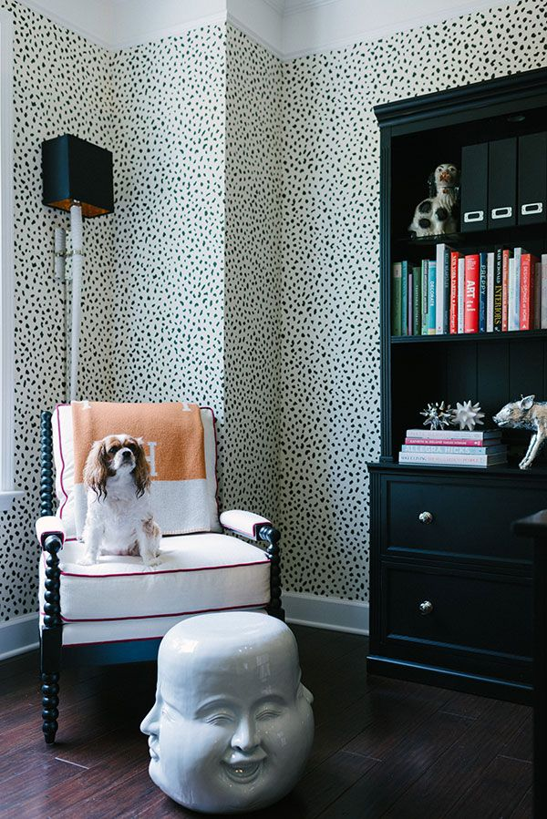 That wallpaper! Pattern would be pretty on throw pillows.
