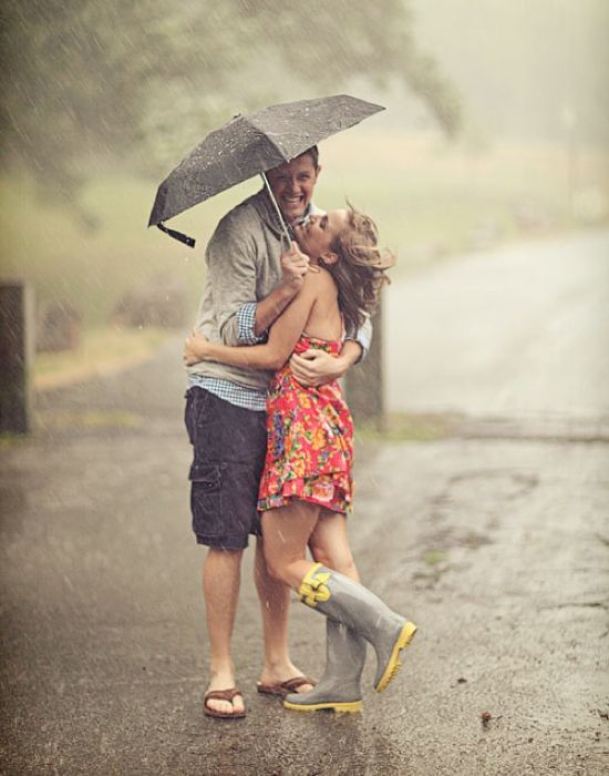 Don't let the weather get you down. Take advantage of the rain! It can make for the most romantic of all engagement photos, and there are so many ways to use an umbrella as a fun prop. by Alison Conklin Photography