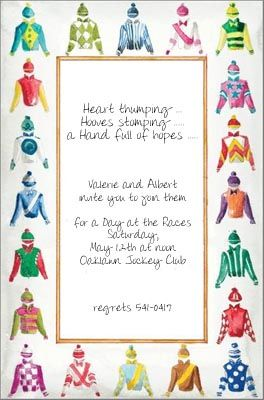 HORSE RACING INVITATIONS, SILKS,