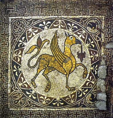 A griffin illustrated in tiles, in the 12th c. La Cathedrale di Bitonto.