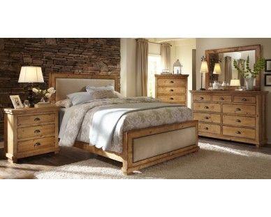 6 Piece Queen Uph Bedroom   Distressed Pine   Sam Levitz Furniture