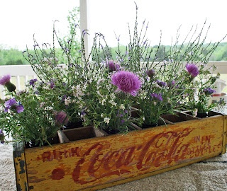 Old Coke crate with wildflowers in short jars.  Maybe use baby food jars?