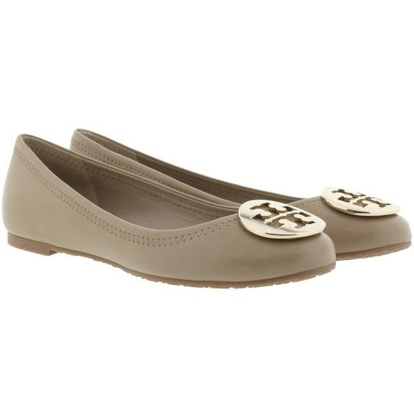 Tory Burch Reva Ballet Mestico Leather Ballerina Fumo in beige,... (6 690 UAH) ❤ liked on Polyvore featuring shoes, flats, beige, ballet flat shoes, leather flat shoes, ballet flats, slip-on shoes and leather flats