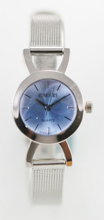 Rumours Watch Womens Stainless Steel Silver Easy Read Water Resist Blue Quartz