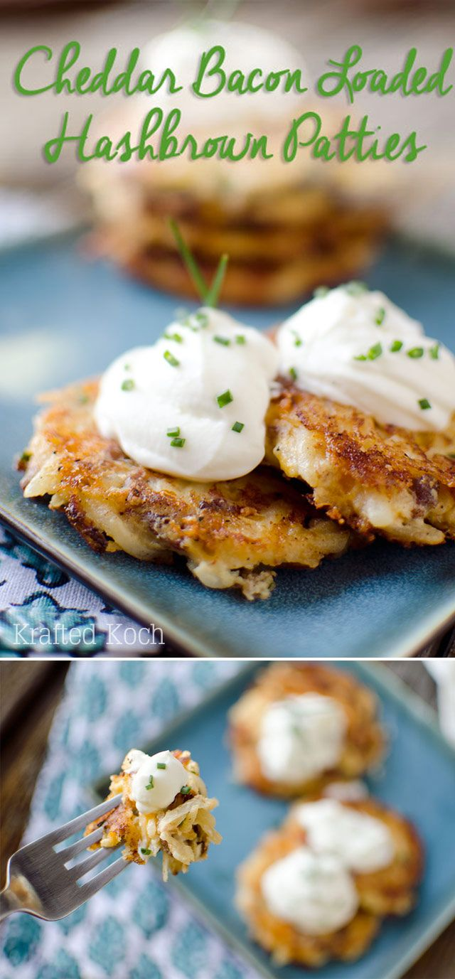 Cheddar Bacon Loaded Hashbrown Patties - Cheesy bacon and onion hashbrowns are topped with creamy sour cream for the perfect appetizer or side dish.