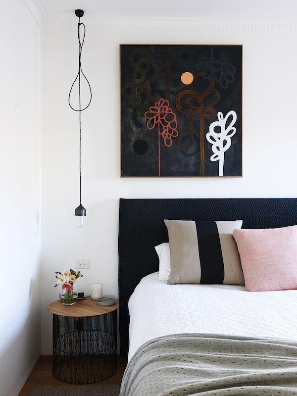 Artwork by Rachael Castle. Photo – Eve Wilson for The Design Files. #bedroom