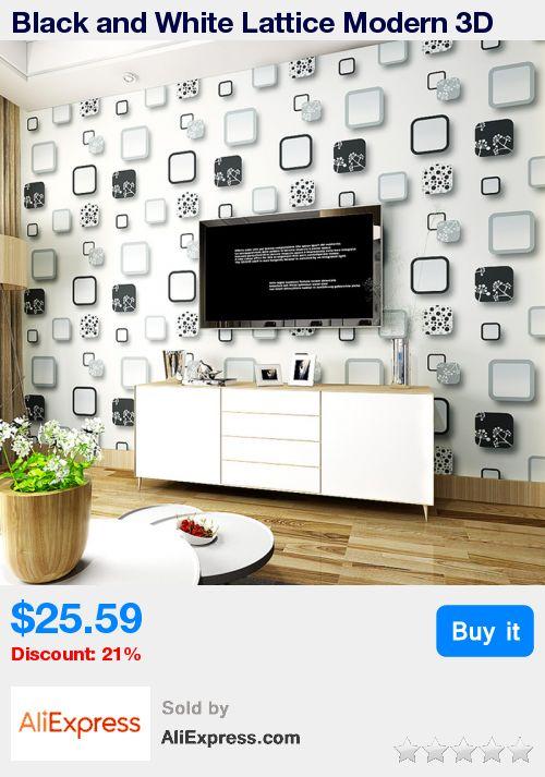 Black and White Lattice Modern 3D Stereoscopic Embossed Non-woven Wallpaper For Living Room TV Walls Home Decor Wallpaper Prints * Pub Date: 13:14 Jul 8 2017