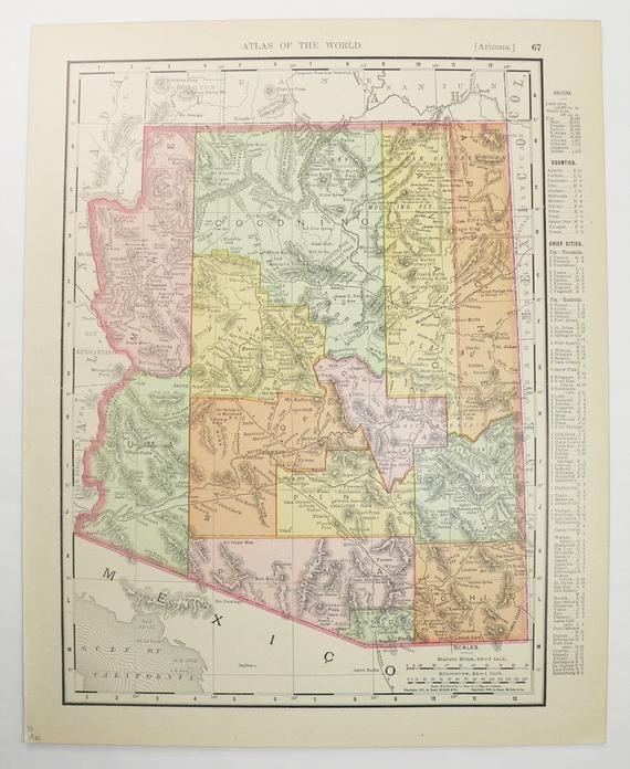 1900 Rand Mcnally Arizona And Nevada Map Original Vintage Map - Us-93-arizona-map