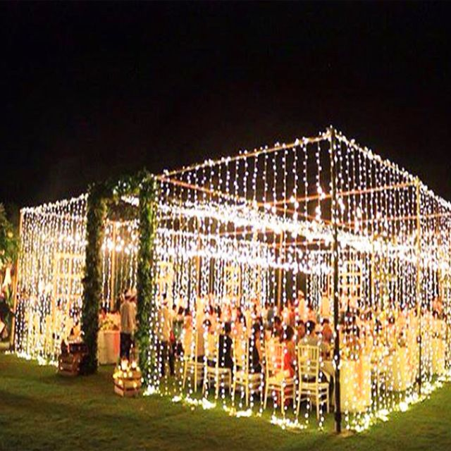Fairy Led Bulbs Curtain Lights Decoration In 2020 Outdoor Wedding Decorations Wedding Lights Backyard Wedding