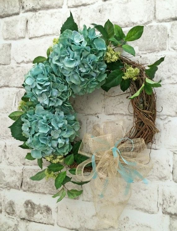 Hydrangea Wreath, Spring Wreath, Summer Wreath, Front Door Wreath, Silk Floral Wreath, Grapevine Wreath, Etsy Wreath -  This beautiful hydrangea wreath was handmade using a natural grapevine wreath base adorned with gorgeous, huge, extra large, aqua blue hydrangeas, lovely greenery, and a swirling neutral mesh-like bow with an aqua blue ribbon. This wreath would look lovely above your mantel, on an interior wall, or on your front door!  • Already made and ready to ship! • Measures…