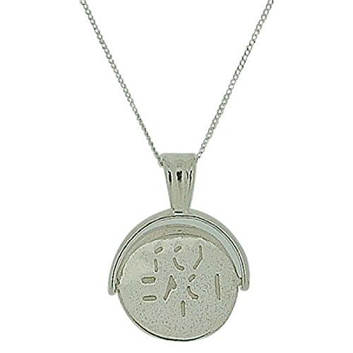 """TOC Sterling Silver """"I Love You"""" 20mm Spinner Pendant Necklace 18"""""""