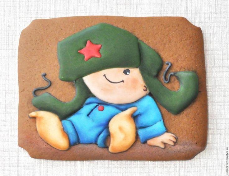 Купить или заказать Пряничная открытка Кролик пасхальный. Кулинарный сувенир в…