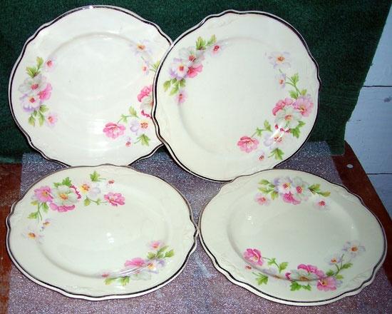 Homer Laughlin Virginia Rose Saucer Plates Set Of Four - $35.00 : Vintage Collectibles Sewing Patterns Postcards Aprons Ephemera