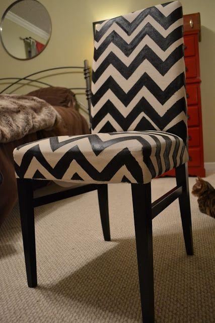 postagious: DIY Chevron Painted Fabric Chair