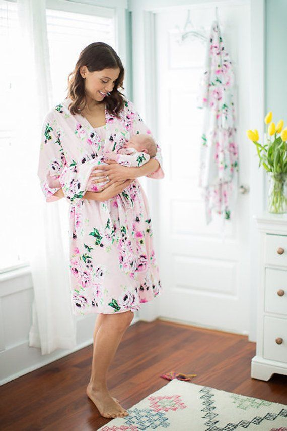 8ac9cc2b8fc 3 PC Set - Amelia Floral Maternity Delivery Labor Nursing Robe   Matching  Baby Coming Home Set