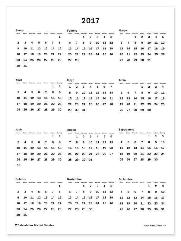 """Calendario """"Ciriacus"""" 2017 para imprimir"""