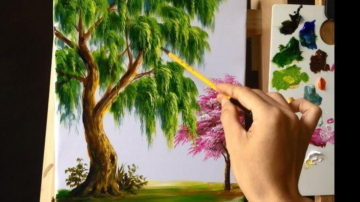 So Malen Sie Einen Baum Mit Acryl Lektion 9 Youtube